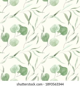 Watercolor seamless pattern. Eucalyptus branches on white background.