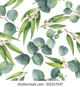 Watercolor seamless pattern with eucalyptus leaves and branches. Background for textile, paper and other print and web projects.