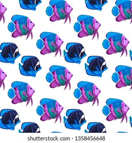 Watercolor seamless pattern with exotic fish. Bright summer print. Can be sed for any kind of design.