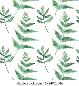 Watercolor seamless pattern with fern leaves on white background