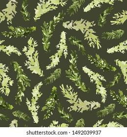Watercolor seamless pattern with fir branches. Light and dark green colors, watercolor technique. Dark green background