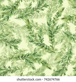 Watercolor seamless pattern with fir tree branches 3