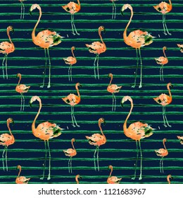 Watercolor Seamless Pattern With Flamingo and Stripes. Exotic Summer Beach Motif. Swimwear Design, Wrapping, Background, Wallpaper, Fabric. Hawaiian Print. Jungle Birds Repeated Ornament. Africa.