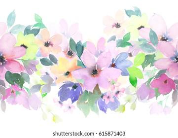 Watercolor seamless pattern. Floral border. Summer motif
