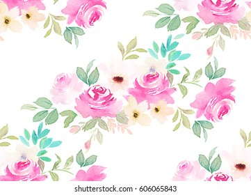 Watercolor seamless pattern. Floral print  on white background