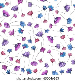 Watercolor seamless pattern with flowers..