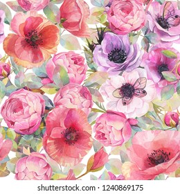 Watercolor seamless pattern with flowers, anemones, poppies, roses and butterflies. Romantic botanical wallpaper.