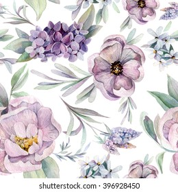 Watercolor seamless pattern with flowers. Can be used for textile, web, background texture, wrapping a much more