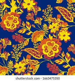 Watercolor seamless pattern with flowers in ethnic style. Floral decoration. Traditional paisley pattern. Textile design texture.Tribal ethnic vintage seamless pattern.