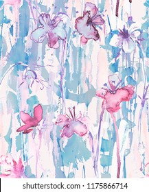 Watercolor seamless pattern with flowers in pink and blue colors