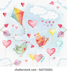 Watercolor seamless pattern with flying kite in rainbow colors, cupid arrows and Valentine's Day bird couple