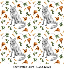 Watercolor seamless pattern with fox, chanterelle mushrooms and green leaves of herbs. Wild animal, mushrooms and plants