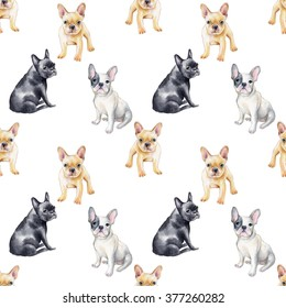 Watercolor seamless pattern of french bulldog. Pet, puppy background. Animal wallpaper.