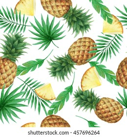 Watercolor seamless pattern with fresh pineapples and tropical leaves. Hand drawn food texture with fruits on white background.