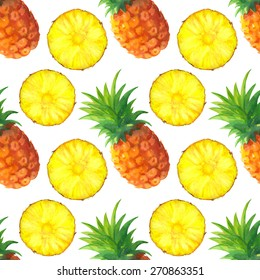 Watercolor seamless pattern with fruits. Pineapples whole and slices on white background. Hand painting on paper