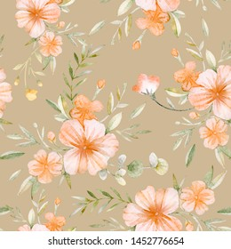 Watercolor seamless pattern. Gentle tropical ornament. Summer mood. Tropics. Pink and yellow flowers, monstera, twigs, leaves on a white background. Hand drawn