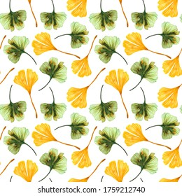 Watercolor seamless pattern with Ginkgo biloba leaves on a white background. Simple print with green and yellow ginkgo leaves.