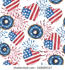 Watercolor seamless pattern of glazed donuts, hearts and salute in the colors of the USA star-striped flag. For compositions on the theme of patriotic holidays. On a white background