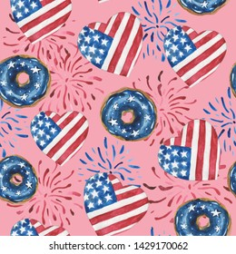Watercolor seamless pattern of glazed donuts, hearts and salute in the colors of the USA star-striped flag. For compositions on the theme of patriotic holidays. On a pink background
