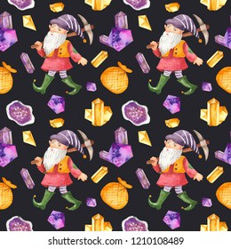 Watercolor seamless pattern with gnome, pickaxe, bag, crystals. Texture for the holiday lanterns, fabrics, scrapbooking, children's design, Waldorf.