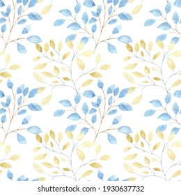 Watercolor seamless pattern with gold and blue large abstract leaves on a white background, the Watercolor pattern for fabrics, bed linen, dresses, packaging.