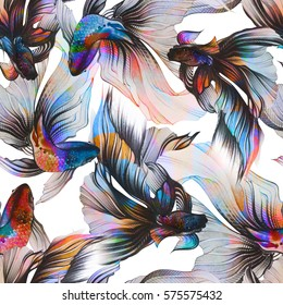 Watercolor seamless pattern with golden fish, veiltail. Hand drawing llustration, color pencil. Graphic art. It may be used for poster, design of a t-shirt, postcard, case and bag. Tattoo design.