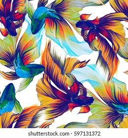 Watercolor seamless pattern with golden fish, veiltail. Hand drawing llustration, color pencil. Graphic art. It may be used for poster, design of a t-shirt, postcard, case and bag. Tattoo design