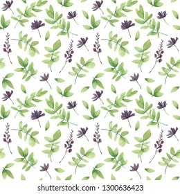 Watercolor seamless pattern with grass and violet flowers. Herbal background. Hand drawn wildflowers. Botanical illustration