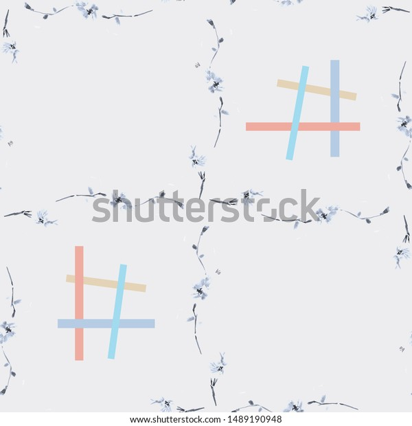 Watercolor seamless pattern of gray branches with red and blue squares on a gray background -7