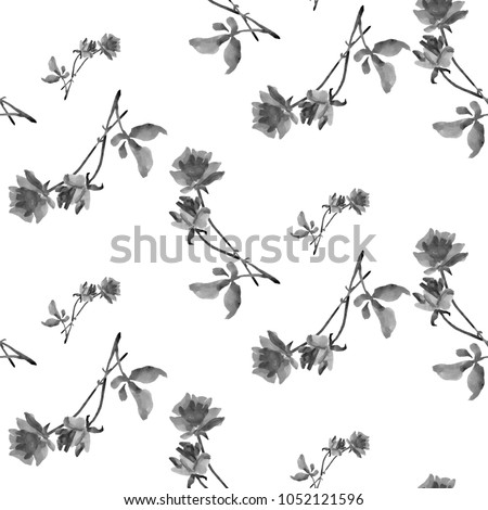 Watercolor seamless pattern of gray-white roses on a white background