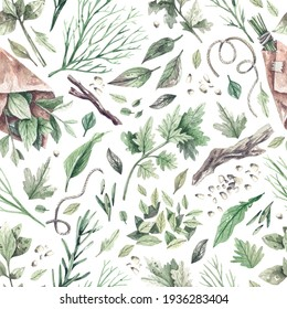 Watercolor seamless pattern with green garden herbs, roots and branches, dill, rosemary, mint, parsley, basil. Organic natural greens texture concept of health, natural cosmetics.