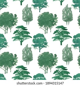 Watercolor seamless pattern. Green trees on a white background. Mixed forest deciduous and coniferous trees