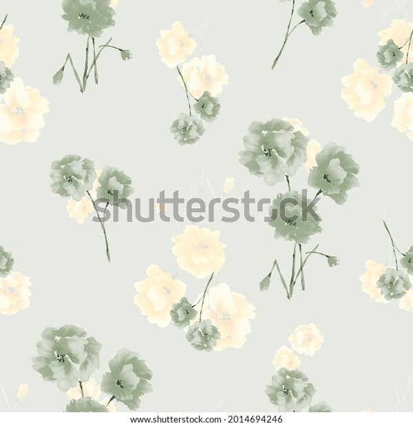 Watercolor seamless pattern of green and yellow flowers and bouquets on a light green background