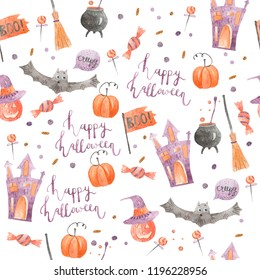 Watercolor seamless pattern with halloween elements and objects on white background. Perfect for wrapping paper, wallpaper, clothing, stationary