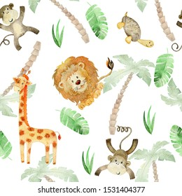 Watercolor seamless pattern with hand drawn animals. Exotic wallpaper for fabric, wrapping paper , etc