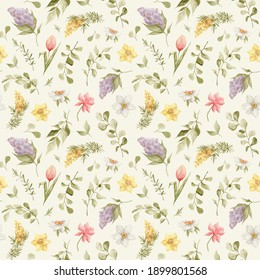 Watercolor seamless pattern with hand-drawn spring flowers. Lilac, tulip, narcissus, mimosa, leaves, branches, eucalyptus. Wild meadow flower. Botanical summer backgound