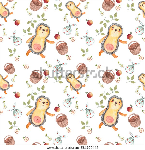 watercolor, seamless, pattern, hedgehog with basket