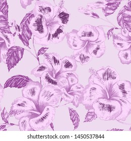 Watercolor seamless pattern with hibiscus. Jungle palm leaves. Fashion style seamless background. Tropical flower background. Exotic floral seamless pattern. Bright summer print.