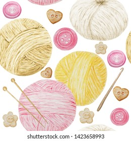 Watercolor Seamless pattern Hobby Knitting and Crocheting , Wool Yarn Cute. Collection of hand drawn yellow, pink, white, beige colors balls of yarn for knitting and buttons