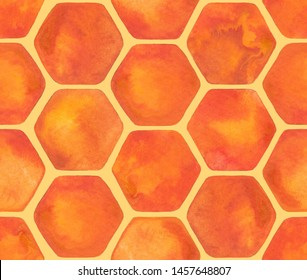 Watercolor seamless pattern of honeycomb. Hand painted repeated design