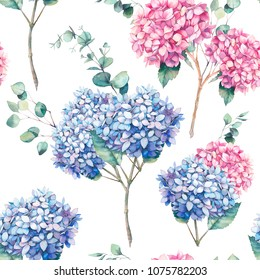 Watercolor seamless pattern with hydrangea flowers, leaves and eucalyptus branches. Hand painted repeating background with floral elements on white background. Garden style texture