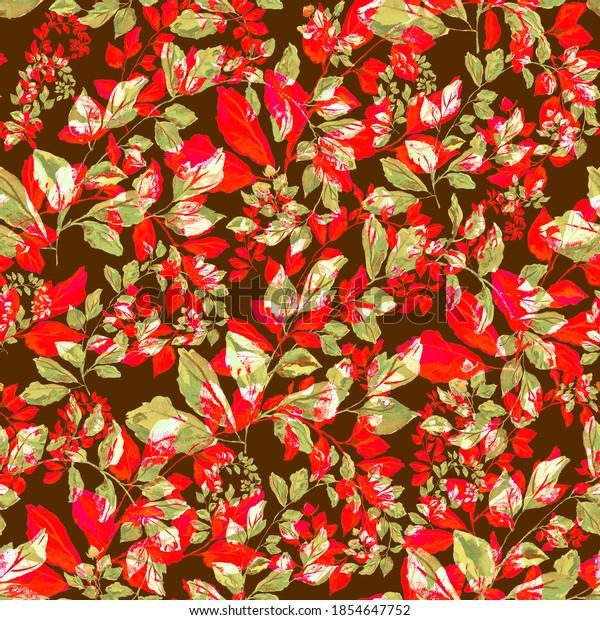 Watercolor seamless pattern. Illustration. Flower