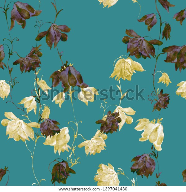 Watercolor seamless pattern. Illustration. Flowers,  - HW .