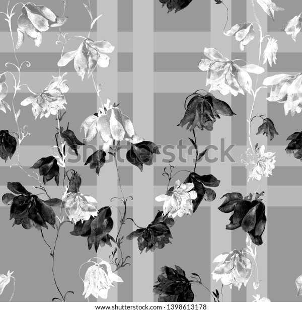 Watercolor seamless pattern. Illustration. Flowers. White and Black  - HR .
