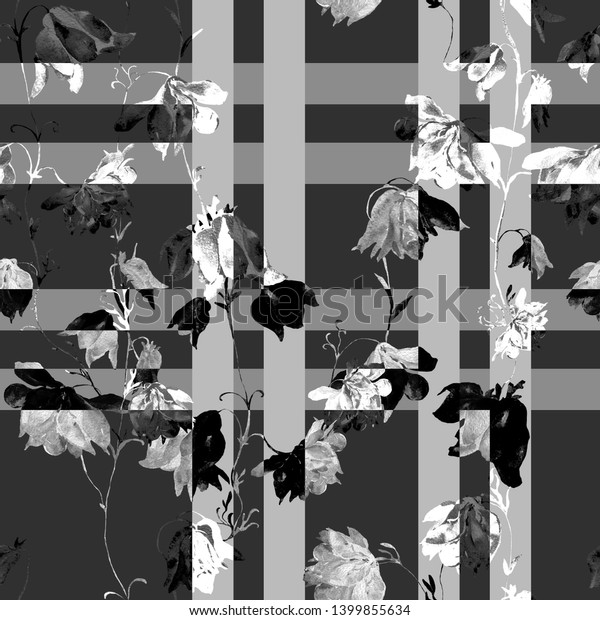 Watercolor seamless pattern. Illustration. Flowers, White and Black - HC .