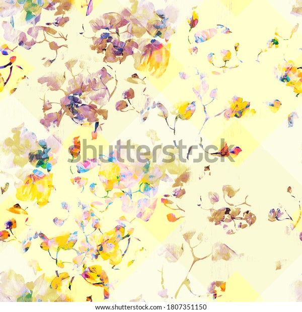 Watercolor seamless pattern. Illustration. Flowers