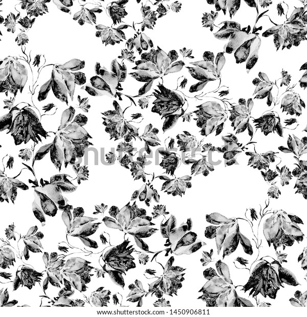 Watercolor seamless pattern. Illustration. Flowers-KO