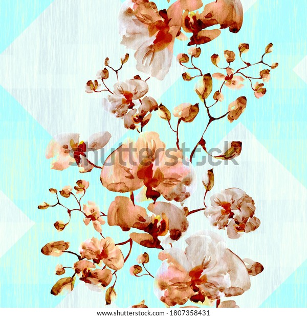 Watercolor seamless pattern. Illustration. Orchid.