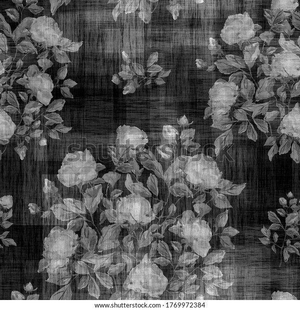 Watercolor seamless pattern. Illustration. Roses.