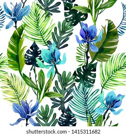 Watercolor seamless pattern with the image of green palm leaves and mysterious flowers on a white background.